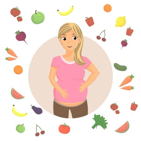 Pregnancy Healthy Diet Cartoon Vector Illustration. Future Mother Correct Nutrition, Eating. Vitamins Rich Food. Raw Fruit and Vegetables Meal. Young Woman Flat Character Holding Hands on Belly Stock Illustratie