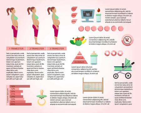 Pregnancy Information Article Page Vector Template. Motherhood, Parenthood Infographics. Future Mom Diet, Healthy Eating. Baby Planning and Expecting Web Banner Layout. Newborn Basics, Necessities