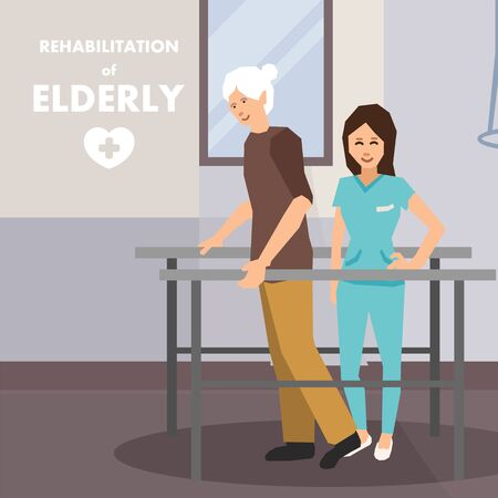 Rehabilitation for Elderly on Parallel Bars Advert. Flat Cartoon Poster. Old Disabled Man and Physiotherapist. Personal Assistant Help Invalid Male to Rehab. Vector Cripple Male on Walker Illustration