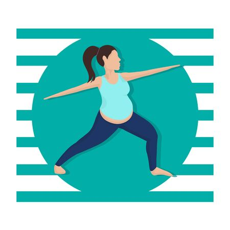 Pregnancy Workout Cartoon Vector Illustration. Pregnant Woman Healthy Leisure Activity. Barefooted Lady Doing Yoga Pose. Standing Balancing Warrior Position. Pregnancy Fitness Training