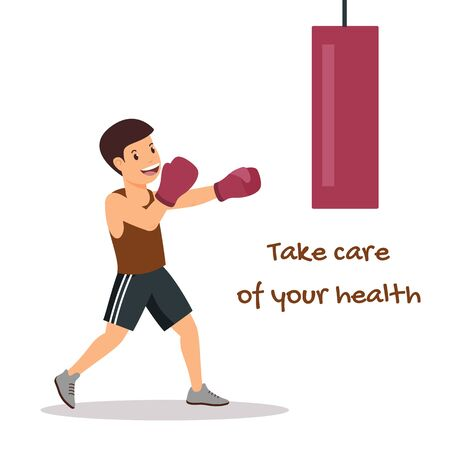 Health Care Motivating Poster with Cartoon Boxer. Flat Boy Character Engaged in Boxing. Active Lifestyle and Happy Childhood. Physical Growth and Development. Vector Isolated Illustration 免版税图像 - 130392319