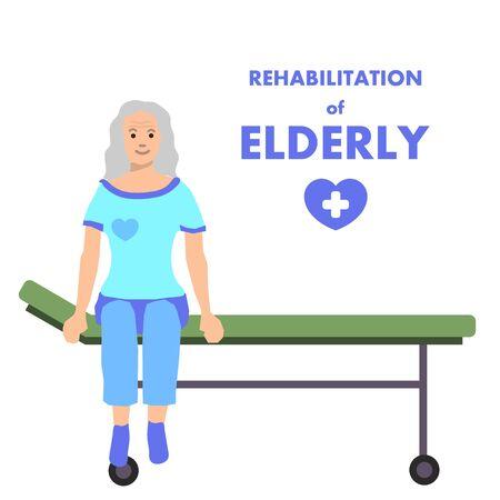 Transparent wektor prezentacji dla kliniki rehabilitacyjnej z uśmiechniętym starym klientem. Szczęśliwa kobieta w podeszłym wieku na siedzi na noszach, czekając na rozpoczęcie programu rehabilitacji. Izolowana ilustracja z tytułem promocyjnym
