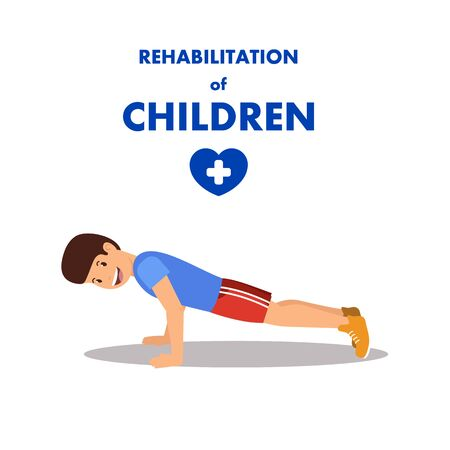 Children Rehabilitation by Physiotherapy and Sport. Advertising Banner with Flat Cartoon Boy Character Doing Push-ups. Workout and Exercising in Physiotherapists room. Vector Isolated Illustration  イラスト・ベクター素材