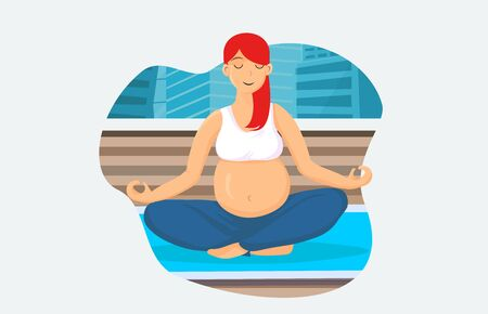 Pregnancy Meditation Cartoon Vector Illustration. Young Girl Flat Character Relaxing in Lotus Position. Modern City Pilates Class Room. Pregnant Woman Doing Yoga Asana. Concentration Exercise