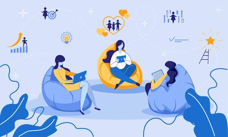 Women Group Sitting on Soft Bag Chairs Using Laptops and Tablets for Watching Online Video Tutorials. Remote Education, E-Learning, Distant Training Courses for Girls. Cartoon Flat Vector Illustration