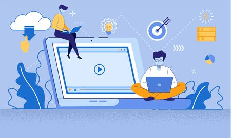 Training Young People to Gain Knowledge from Internet. Students Online Education Composition. Learning Men with Gadgets Sitting at Big Laptop with Webinar on Screen. Cartoon Flat Vector Illustration