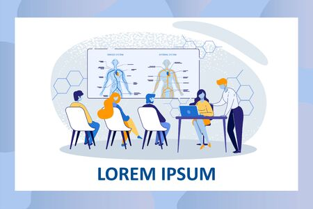 Medicine University Lesson. Medical Students Sitting on Chairs Studying Venous and Arterial Human System. Teacher with Laptop Sit at Desk in Class. Cartoon Flat Vector Illustration, Horizontal Banner Illusztráció