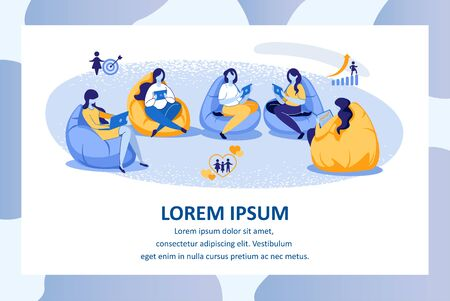 Education or Courses for Women. Group of Girls Sitting in Circle on Bag Chairs with Gadgets in Hands Learning, Studying and Friendly Communicating. Cartoon Flat Vector Illustration, Horizontal Banner