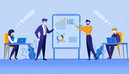 Company Leader, Business Coach, Executive Manager Pointing on Flip Chart Graph, Explaining Company Strategy, Presenting Financial Indicators on Meeting with Employees. Cartoon Flat Vector Illustration
