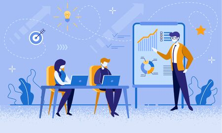 Business Coaching Courses. Economic School Teacher and Students Characters. Financial Literacy Seminar, Presentation. Data Analysis Class, Tutor Training New Employees Cartoon Flat Vector Illustration Illusztráció