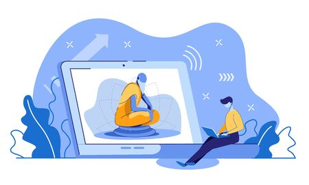 Young European Man with Laptop Sitting at Huge Computer with Image of Buddhism Guru in Lotus Posture on Screen. Distant Learning, Self Education, Spiritual Development Cartoon Flat Vector Illustration