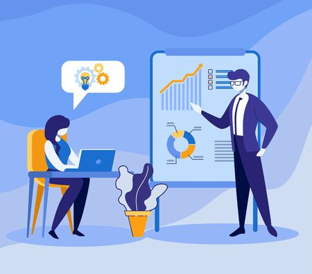 Corporate Meeting, Studying Process in Office. Businesswoman with Laptop and Man Coach Planning Company Strategy Discussing Business Report Analyzing Market Statistics Cartoon Flat Vector Illustration