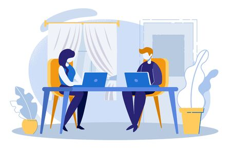 Young Man and Woman Characters Working on Computers Sitting at Desk in Home or Classroom Interior Background. Distance Education, Chatting in Internet. Social Media. Cartoon Flat Vector Illustration
