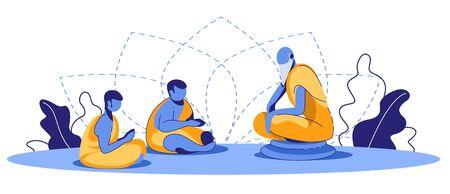 Monje meditando y enseñando a los novicios sobre el logro del nirvana y siguiendo la doctrina de Buda y el budismo. Práctica religiosa oriental y proceso de autoconocimiento. Ilustración de Vector plano de dibujos animados