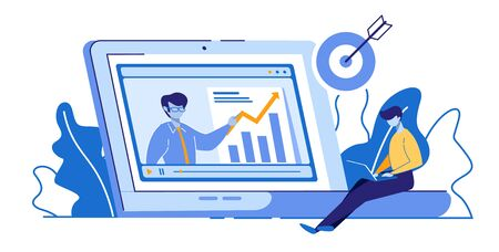 International Distance Education, Learning, E-Learning. Man with Laptop Watching Webinar of Financial Literacy with Tutor on Screen Getting Diploma Target Achieve Goal Cartoon Flat Vector Illustration Illusztráció