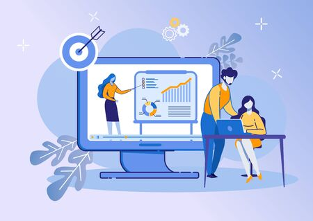 People Listen Woman on Huge Screen with Graphs. Business Training Event. Remote Corporate Teaching Meeting. Online Webinar. Web Conference Employee Training Session. Cartoon Flat Vector Illustration