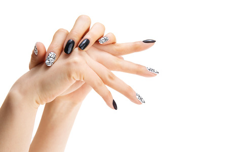 a womans nail, designed with nail art Stok Fotoğraf