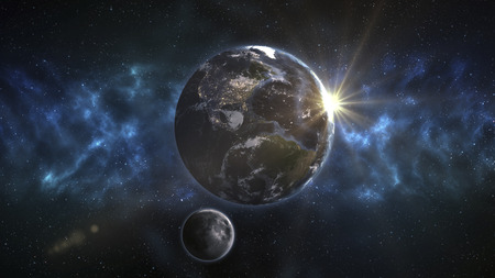 Frontal View of the Planet Earth and Orbiting Moon. Stock Photo