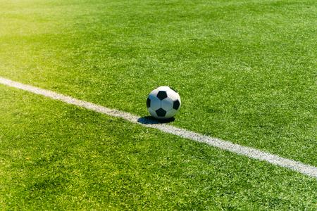Soccer football field stadium grass line. Sport background