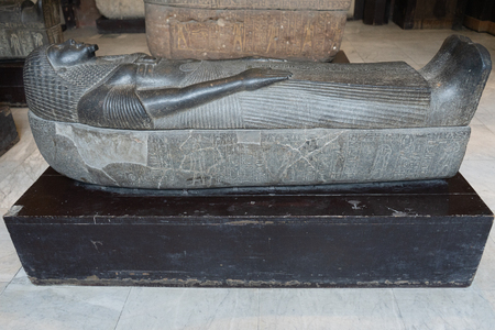 CAIRO, EGYPT: Ancient sarcophagus in The Museum of Egyptian Antiquities