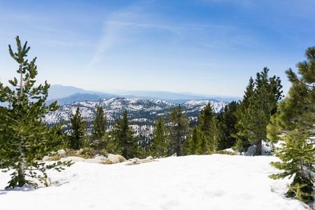 Snowy landscape on the trail to Mount San Jacinto peak, California