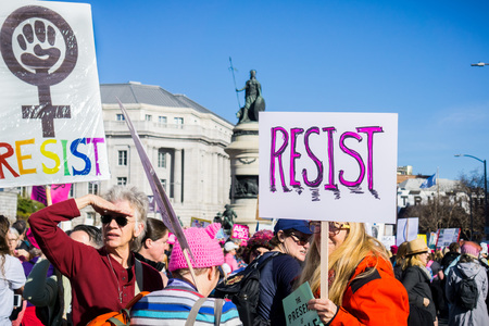 January 20, 2018 San Francisco  CA  USA - Resist signs carried at the Womens March Editorial