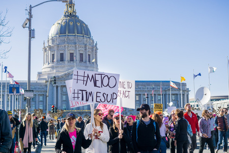 January 20, 2018 San Francisco / CA / USA - Women's March protesters begin to walk;