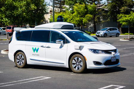 Mountain View / CA / USA - Close up of Waymo self driving car performing tests in a parking lot near Google's headquarters, south San Francisco bay area