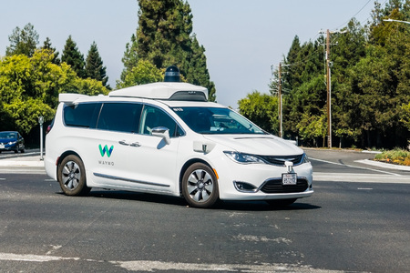 September 6, 2018 Mountain View / CA / USA - Waymo self driving car performing tests on a street near Google's headquarters, Silicon Valley Editorial