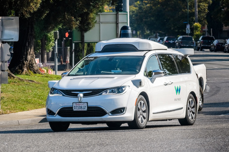 Mountain View / CA / USA - Waymo self driving car performing tests on a street near Google's headquarters, Silicon Valley Editorial