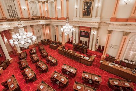 22 septembre 2018 Sacramento / CA / USA - Vue de la salle de l'Assemblée du Sénat située dans le bâtiment historique du Capitole de l'État de Californie