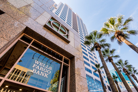 September 22, 2018 Sacramento / CA / USA - Wells Fargo Bank branch located in the Wells Fargo Center (the tallest building in the city)