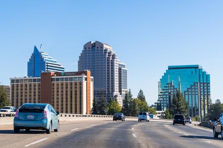 September 23, 2018 Sacramento / CA / USA - Sacramento skyline as seen when driving on the freeway close to the downtown area Editorial