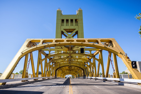 The historic Tower Bridge in the old part of the city, Sacramento, California Stock Photo