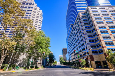 September 23, 2018 Sacramento / CA / USA - Street lined up with skyscrapers in downtown Sacramento