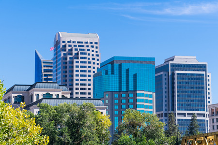 View of the skyscrapers in downtown Sacramento, California Stock Photo
