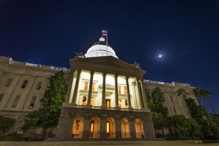 California State Capitol building, Sacramento, California; night view