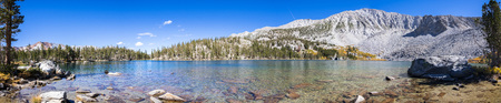 Panoramic view of Steelhead Lake in the Eastern Sierra mountains, California