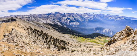 Alpine landscape and view towards eastern Sierra Nevada mountains as seen from Alta Peak on a sunny summer day; Sequoia National Park, California Stock Photo