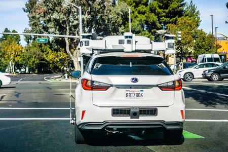 November 1, 2018 Sunnyvale / CA / USA - Vehicle from Apple's fleet currently testing a self driving system; the Company is using Lexus SUVs for the tests performed on the streets of Silicon Valley