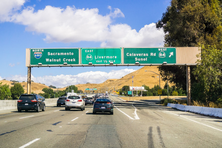 October 6, 2018 Fremont / CA / USA - Busy highway in east San Francisco bay area