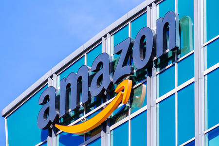 November 2, 2018 Sunnyvale / CA / USA - Amazon logo on the facade of one of their office buildings located in Silicon Valley, San Francisco bay area