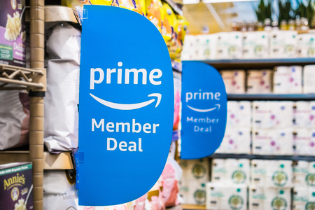September 6, 2018 Los Altos / CA / USA - Amazon Prime Member Deal sign displayed inside a Whole Foods store in south San Francisco bay area Editorial