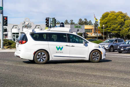 November 3, 2018 Mountain View / CA / USA - Waymo self driving car performing tests on a street in Silicon Valley Editorial