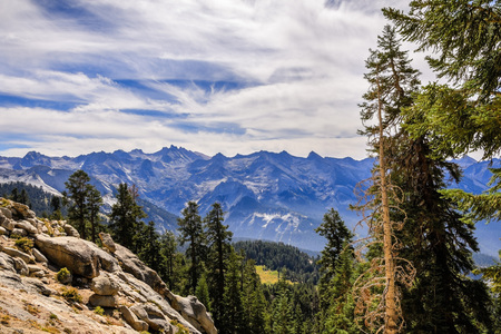 Morning views on the way to Alta Peak in Sequoia National Park, Sierra Nevada mountains, California Stock Photo