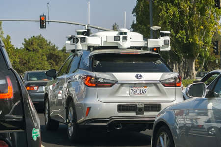 September 28, 2018 Sunnyvale / CA / USA - Vehicle from Apple's fleet currently testing a self driving system; the Company is using Lexus SUVs for the tests performed on the streets of Silicon Valley Standard-Bild - 112497395