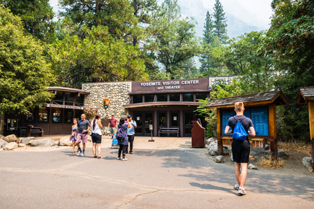 July 17, 2018 Yosemite Valley  CA  USA - Exterior view of the Yosemite Visitor Center and Theater