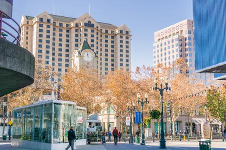 December 6, 2017 San Jose  CA  USA - Pedestrian area in downtown San Jose, south San Francisco bay area Editorial