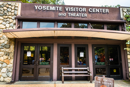 July 17, 2018 Yosemite Valley / CA / USA - Exterior view of the Yosemite Visitor Center and Theater