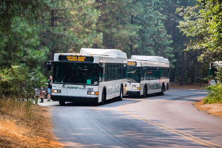 July 17, 2018 Yosemite Valley / CA / USA - Bus shuttling tourists between various interest point located in Yosemite National Park